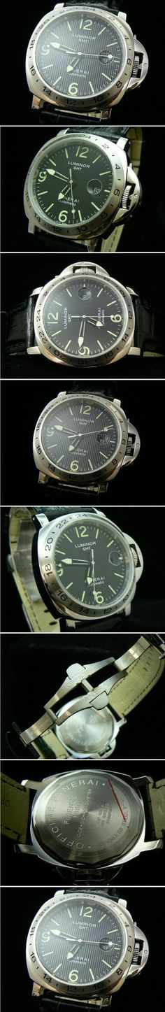 http://www.luxurywatcheonline.com/panerai-p005-panerai-0131-black-luminor-gmt-120900.html Product Name: Panerai P-005 PANERAI 013-1 BLACK/LUMINOR GMT Dial: Black Dial (as shown picture in this page) Bezel: Stainless Steel Strap: Black Leather Strap (Double Deployant Clasp) Glass: Mineral Glass Gender: Gents Dial Dimensions: 44mm Weight: 138 gram  discount 60% Price: $227.45