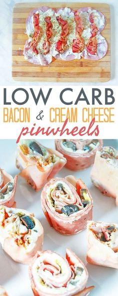 Low Carb Pinwheels with Bacon and Cream Cheese - this quick and easy keto recipe. Low Carb Pinwheels with Bacon and Cream Cheese - this quick and easy keto Receitas Crockpot, Tasty Vegetarian, Vegan Keto, Cream Cheese Pinwheels, Bacon Cream Cheese Bombs, Ham Pinwheels, Cheese Spread, Comida Keto, Low Carb Appetizers