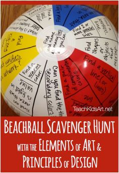 Elements of Art and Principles of Design: Beach Ball Scavenger Hunt Make the elements of art fun! Here is a quick and fruitful game to practice both the elements of art and the principles of design. Elements And Principles, Elements Of Art, Design Elements, High School Art, Middle School Art, School Fun, School Ideas, Art Critique, Art Criticism