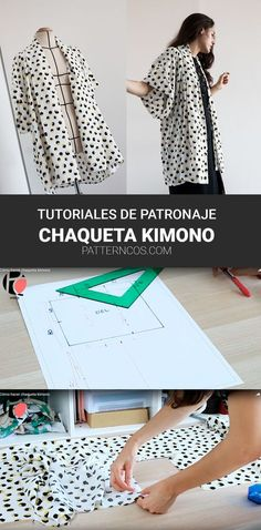Diy Clothes Refashion, Diy Clothing, Diy Clothes And Shoes, Sewing Clothes, Kimono Sewing Pattern, Sewing Patterns, Kimono Tutorial, Sewing Tutorials, Sewing Projects