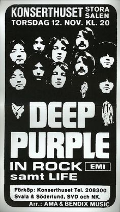 """Deep Purple - """"Alive Tribute To Wally"""" Rock Posters, Band Posters, Vintage Concert Posters, Retro Posters, Metal Music Bands, Jon Lord, Rock N Roll, Rock Rock, Rock Band Logos"""