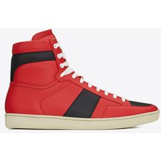 Saint Laurent Signature Court Classic Sl/10h High Top Sneaker ($655) ❤ liked on Polyvore featuring men's fashion, men's shoes, men's sneakers, mens high top sneakers, mens high top shoes, yves saint laurent mens shoes and mens perforated shoes