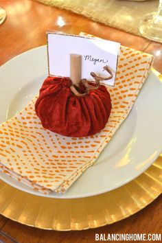Velvet Pumpkin Place Card Tutorial -- perfect for a fall dinner party or #Thanksgiving! :) From @Megan Bray
