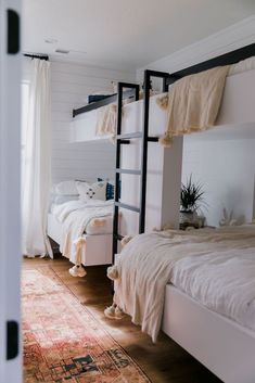 shared girls bedroom decor, girl bunkroom for a cottage, BECKI OWENS Project Reveal: Town Center Bunk Room Double Bunk Beds, Modern Bunk Beds, Black Bunk Beds, Full Size Bunk Beds, Metal Bunk Beds, Triple Bunk, Bunk Bed Rooms, Kids Bunk Beds, Adult Bunk Beds