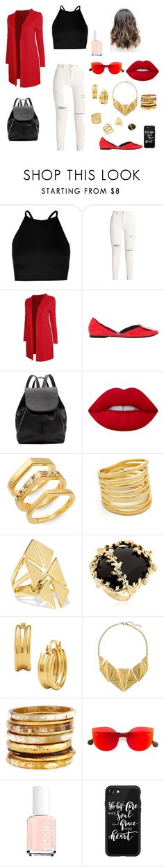 """""""casual & trendy"""" by sara-399 on Polyvore featuring Boohoo, Roger Vivier, Witchery, Lime Crime, Elizabeth and James, Gorjana, Noir Jewelry, Rosantica, 8 and Ashley Pittman"""