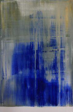 """Koen Lybaert; Oil, 2013, Painting """"abstract N° 504 [titanium white, ultramarine blue and studio yellow]"""""""