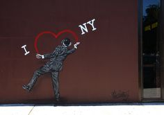 """Nick Walker.  """"I Love NY"""" The British artist was in NYC this week on his way to LA.  Stay tuned for tomorrow's process shots of """"I Love NY"""". (photo © Jaime Rojo)"""