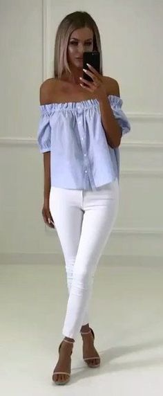 Blue striped off the shoulder top with white jeans
