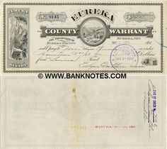 Obsolete bank note & private scrip issued by State ~ Nevada