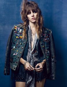 Kate Moss turns stylist in the pages of British Vogue with a fashion feature by Craig McDean. Transforming Freja Beha Erichsen into a festival ready rock chick complete with leather jackets and DIY embellishments like studs and pins