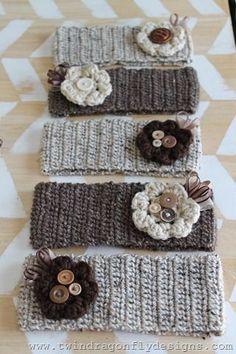 Crochet Headband Pattern - love the flowers!