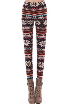 Stripes and snowflake leggings. The perfect amount of holiday spirit.