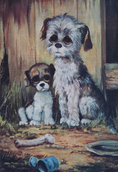'PITY PUPPIES' Big Eye Dogs by Margaret Keane