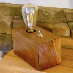In this video, I show you how to build a DIY Edison Bulb Lamp. My Edison Bulb Lamp is built from Walnut, but you could use any type of wood. Woodworking Lamp, Cool Woodworking Projects, Woodworking Joints, Diy Wood Projects, Fine Woodworking, Light Table, A Table, Table Lighting, Lighting Design
