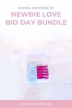 Spoil your new members this recruitment with the Newbie Love bundle! Gift bag includes a sorority decal, hair tie set, and button set. Alpha Omicron Pi Gifts | Alpha Omicron Pi Bid Day | AOII New Member Gifts | Alpha O Rush Gift Bags | Alpha Omicron Pi Recruitment | Sorority Bid Day | Sorority Recruitment | Bid Day Bags | Sorority New Member Gift Ideas #BidDayGifts #SororityRecruitment
