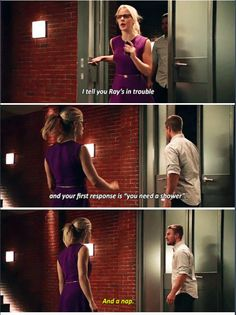 """""""I tell you Ray's in trouble and your first response is 'you need a shower'"""" - Felicity and Oliver #Arrow"""