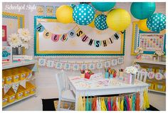 beautiful classroom decoration in blues and yellow | schoolgirl style