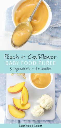 This peach, cauliflower, and ginger baby food puree combination is perfect for babies starting at six months, but delicious enough that toddlers and little kids will love it too. Filled with 3 whole f Peach Recipes For Babies, Baby Puree Recipes, Pureed Food Recipes, Baby Food Recipes, Whole Food Recipes, Baby Food Puree, Toddler Meals, Kids Meals, Toddler Food