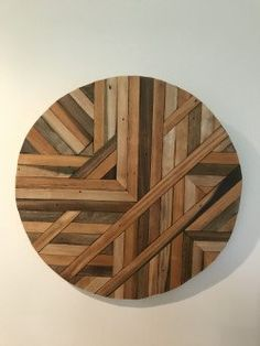 Rustic lath wood wall art Circle Design by WoodlotTreasures on Etsy Wood Pallet Art, Reclaimed Wood Wall Art, Wooden Wall Art, Wood Pallets, Wall Wood, Diy Wood Projects, Wood Crafts, Wood Mosaic, Circle Design