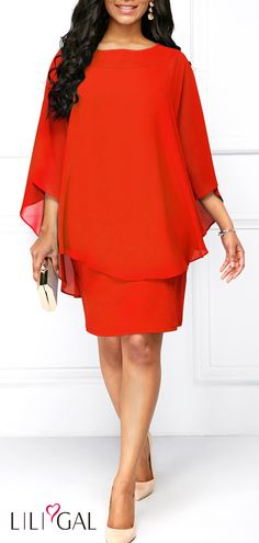 Chiffon Overlay Orange Red Three Quarter Sleeve Dress #liligal #dresses #womenswear #womensfashion