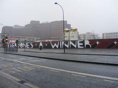 Renaissance Men, Autumn Day, Sheffield, Slogan, Gate, Graffiti, Street Art, Boards, Sculpture