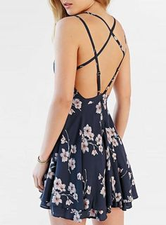 Summer Women's Fashion Spaghetti Strap Floral Print Backless Mini Skater Dress
