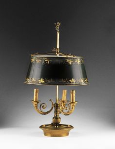 French Bouillotte Lamp with Tole Shade