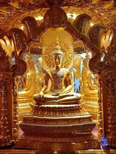 Vande. Vande. Buddhaya. Buddhaya. Namo. Namo. Namo Bhagavato Ariya-ñāna-sāgara-Gotama-byuharājāya Tathāgataya Arahato Sammāsambuddhaya Sasāvakasanghaya. Buddha Figures, Buddha Painting, Buddhist Art, Palace, Paradise, Sculptures, Fair Grounds, India, Statue