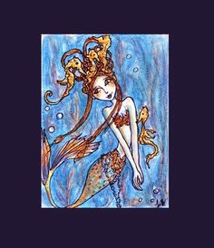 Shae Mermaid and Seahorses Limited Edition ACEO Art by Lorelei Bleil