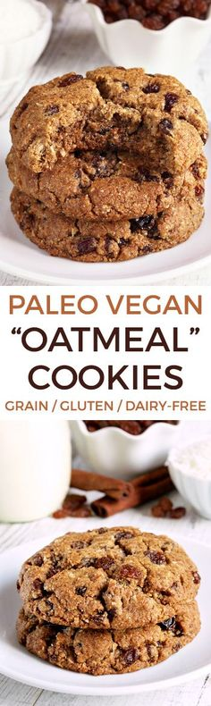 """These paleo """"oatmeal"""" cookies (also known as n& cookies) are crisp wi. These paleo """"oatmeal"""" cookies (also known as n& cookies) are crisp with a chewy center and taste just like classic oatmeal raisin cookies! Recipe has a vegan option and video. Paleo Sweets, Paleo Dessert, Gluten Free Desserts, Vegan Desserts, Dessert Recipes, Vegan Oatmeal Cookies, Paleo Oatmeal, Gluten Free Oatmeal, Paleo Oats"""