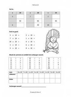 Dit werkblad en nog veel meer in de categorie rekenen - tafel van 10 kun je…