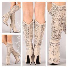Amazing studded ivory boot  Sizes 5 1/2-10 available