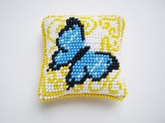 Pillow for of needles Butterfly Beadwork Butterfly by IceBells