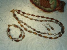 Brown Shell and Quartz Necklace Bracelet and by SandiesGiftCorner, $31.95