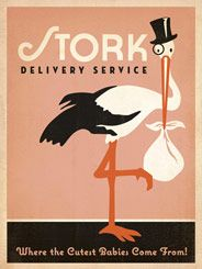 "Stork Delivery-Pink - Vintage matchbook cover art often featured beautiful, yet simple  illustrations. Salvaged from an old matchbook cover, this stork inspired  us to create an adorable print, perfect for decorating a nursery or little girl's  room. It also makes a wonderful baby shower gift! Not only does it  brighten the wall, but it answers the age-old question of ""Where do  babies come from?"""