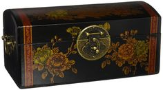 Oriental Furniture Black Lacquer Flowers Jewelry Box *** Read more at the image link. (This is an affiliate link) Painted Wooden Boxes, Hand Painted, Decorative Accessories, Decorative Boxes, Jewelry Box, Jewelry Accessories, Oriental Furniture, Cool Paintings, Hope Chest