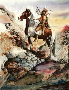 Bad Company by Peter Williams kp Native American Horses, Native American Photos, Native American Artists, American Indian Art, Native Indian, Native Art, Eskimo, Animal Medicine, Watercolor Horse