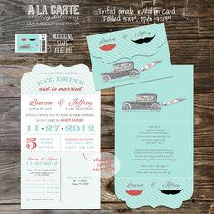 Tri Folded Ornate Vintage Moustache Lip Wedding by alacartestudio