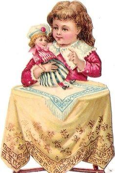 Oblaten Glanzbild scrap die cut chromo Kind child Puppe doll poupee