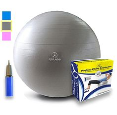 Exercise Ball  Professional Grade AntiBurst Yoga Ball Balance Ball for Pilates Yoga Stability Training and Physical Therapy Silver 55cm -- You can find more details by visiting the image link.