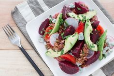 Warm Grain Salad  with Beets, Orange, Avocado & Gorgonzola. Visit http://www.blueapron.com/ to receive the ingredients.