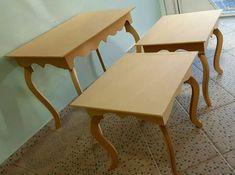 1 mesa central e 2 mesas laterais luis xv festa aparador