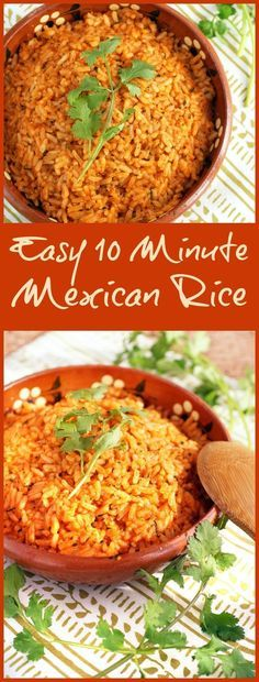 It's not taco night unless you have Mexican restaurant style rice. It's so simple to prepare if you have this Easy 10 Minute Mexican Rice recipe! Can be made gluten free and vegetarian, too!
