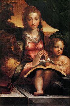 Parmigianino, madonna doria, versione degli Uffizi -- La Madonna Doria è un dipinto a olio su tavola (59x34 cm) del Parmigianino, databile al 1525 circa e conservato nella Galleria Doria-Pamphili a Roma. Per forma e dimensioni l'opera è ritenuta un dittico con la Natività con angeli, nello stesso museo. Ne esiste inoltre una versione più piccola (44x31 cm) giudicata pure autografa nei depositi degli Uffizi.