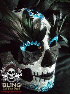 """Glitterati""  Glitter, silk flower, rooster feather and Swarovski Day of the Dead Mask.   (Dia de Los Muertos)"