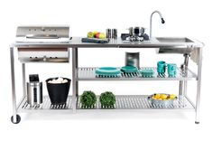 Outdoor Barbeque, Bbq Grill, Kitchen Cart, Amazing Gardens, Shelves, Patio, Modern, Rvs, Furniture