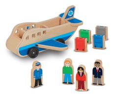 Kids' imagination will fly away with this wooden Airplane. Loaded with four play figures and four color-coordinated suitcases, this plane is ready for takeoff anytime. Children will enjoy endless adventure and explore all kinds of destinations. Where will they fly off to today?