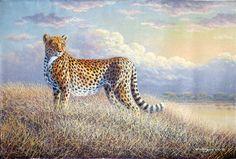 Noble Cheetah by Geoffrey Mugwe of Nairobi, Kenya Kenyan Artists, Nairobi, Wildlife Art, Cheetah, Cute Animals, Africa, Elegant, Pretty Animals, Classy