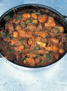 Beef stew, thicken with a little tapioca flour or by reducing the sauce. Hold the white potatoes and replace with sweet potato, parsnips, or cauliflower.