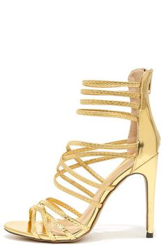 Invites Queen Gold Caged Heels